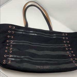 Victoria's Secret black leather tote